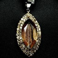Серебряная подвеска 925 пробы с натуральным солнечным камнем и желтым цитрином