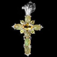 Серебряный крестик 925 пробы с натуральным цитрином и опалом