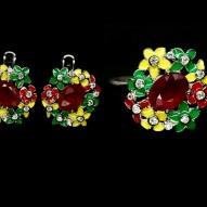 Серебряный гарнитур (серьги и кольцо) 925 пробы с натуральным рубином и эмалью Размер кольца 17