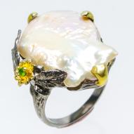 Серебряное кольцо ручной работы 925 пробы с натуральным жемчугом барокко Размер 18,5