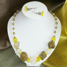 Комплект колье и серьги ручной работы с натуральным лимонным кварцем