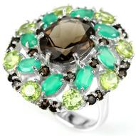 Серебряное кольцо 925 пробы с натуральным дымчатым кварцем и самоцветами Размер 16,5