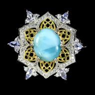 Серебряное кольцо 925 пробы с натуральным ларимаром и танзанитом Размер 19
