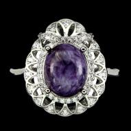 Серебряное кольцо 925 пробы с натуральным чароитом Размер 18,5