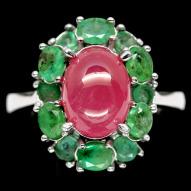 Серебряное кольцо 925 пробы с натуральным рубином и изумрудом Размер 18,5