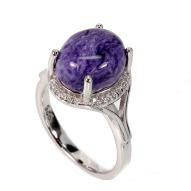 Серебряное кольцо 925 пробы с натуральным чароитом Размер 17,5