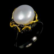 Серебряное кольцо 925 пробы с натуральным жемчугом Размер 18