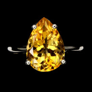 Серебряное кольцо 925 пробы с натуральным цитрином Размер 17,5