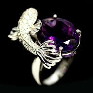 Серебряное кольцо 925 пробы с натуральным аметистом Размер 18,5