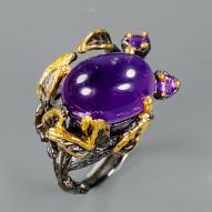 Серебряное кольцо ручной работы 925 пробы с натуральным аметистом Размер 18