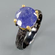 Серебряное кольцо ручной работы 925 пробы с натуральным танзанитом Размер 17,5