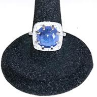 Серебряное кольцо 925 пробы с натуральным танзанитом Размер 17,5