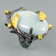 Серебряное кольцо ручной работы 925 пробы с натуральным аквамарином и хризолитом Размер 18,5