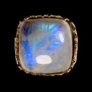 Серебряное кольцо ручной работы 925 пробы с натуральными лунным камнем Размер 18