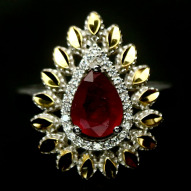 Серебряное кольцо 925 пробы с натуральным рубином Размер 17,5