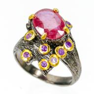 Серебряное кольцо ручной работы 925 пробы с натуральным рубином и аметистом Размер 18