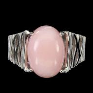 Серебряное кольцо 925 пробы с натуральным розовым опалом Размер 17,5