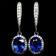 Серебряные серьги 925 пробы с натуральным синим сапфиром