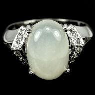 Срібна каблучка 925 проби з натуральним місячним каменем Розмір 17