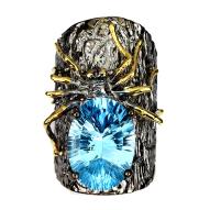 Срібна каблучка ручної роботи 925 проби з натуральним блакитним топазом Розмір 18,5