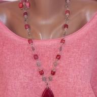 Кольє і сережки ручної роботи червоні з натуральним агатом