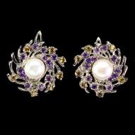 Срібні сережки 925 проби з натуральними перлами, аметистом і сапфіром